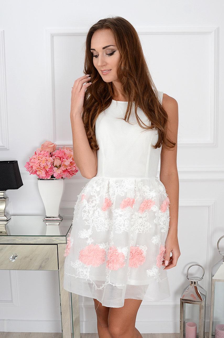 Sukienka Luisa z siateczki z kwiatami 3D biała Rozmiar: S/M