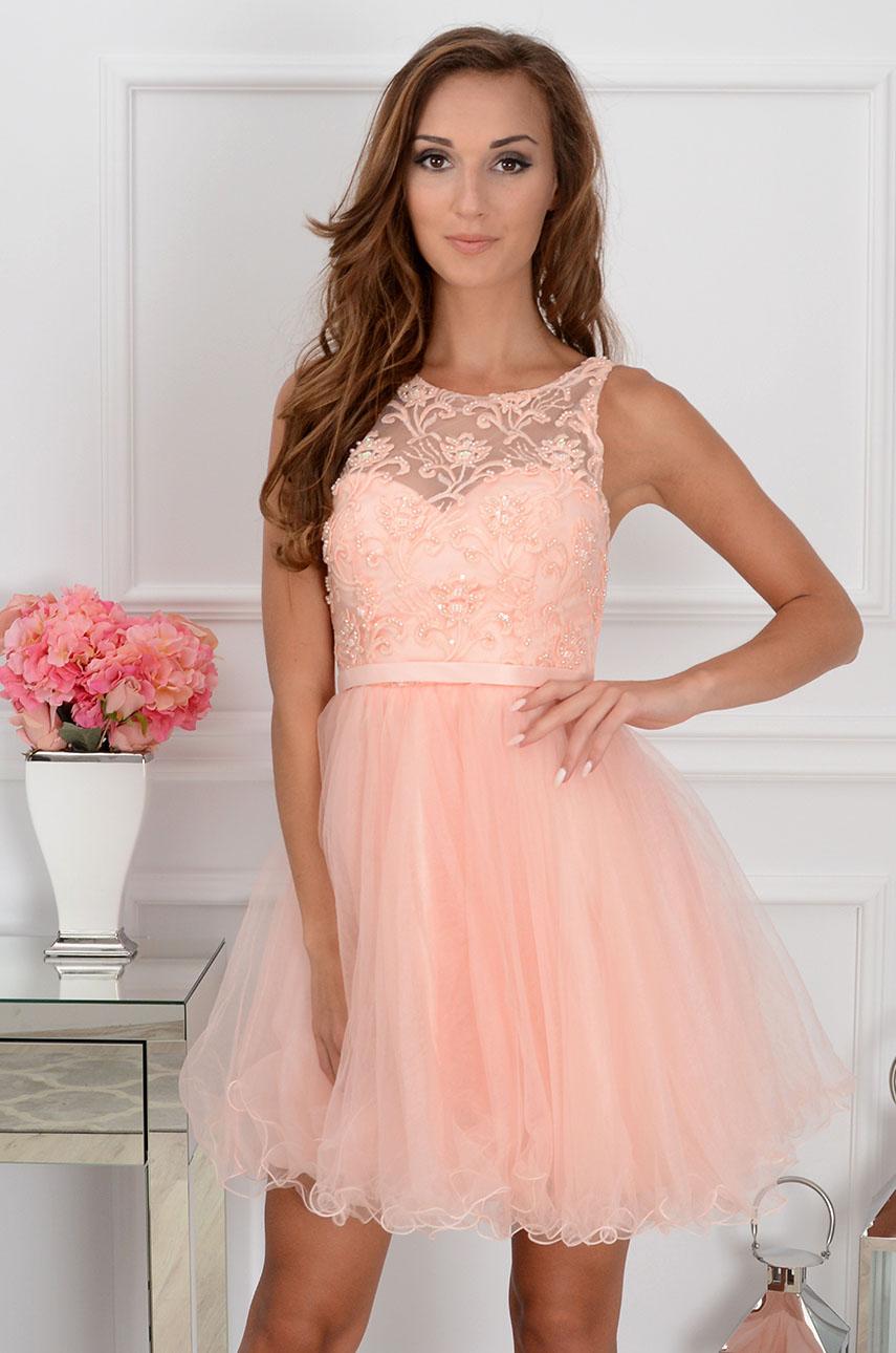 Sukienka Violetta z koronki i tiulu pudrowy róż Rozmiar: S/M