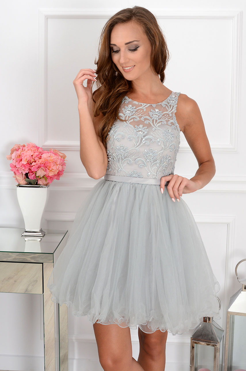 e830e41928a Sukienka Violetta z koronki i tiulu szara