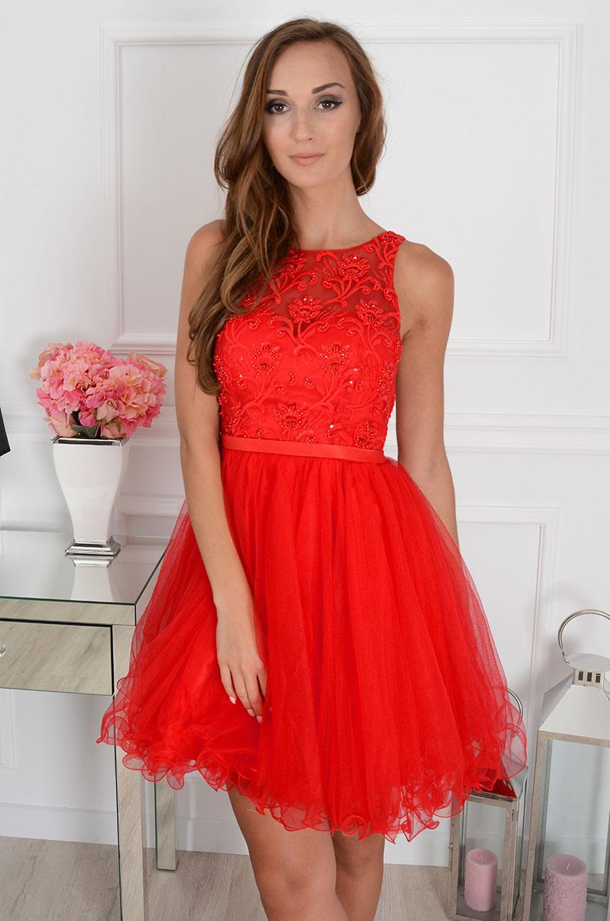 ebfa7b8a0c Sukienka Violetta z koronki i tiulu czerwona