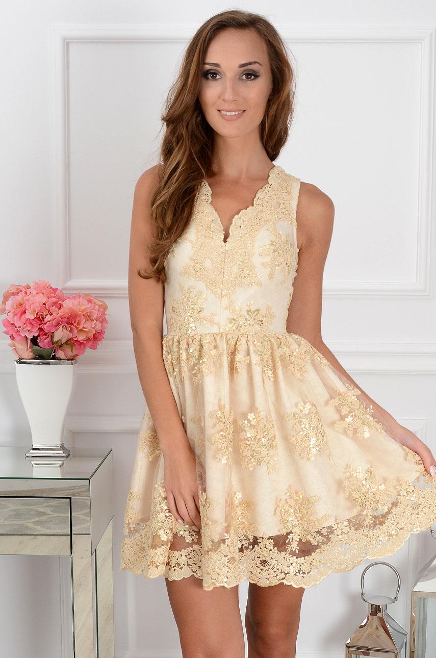 ca3ee69c24 Sukienka z koronki Lablanca beżowo-złota - Cocomoda.pl - odz...