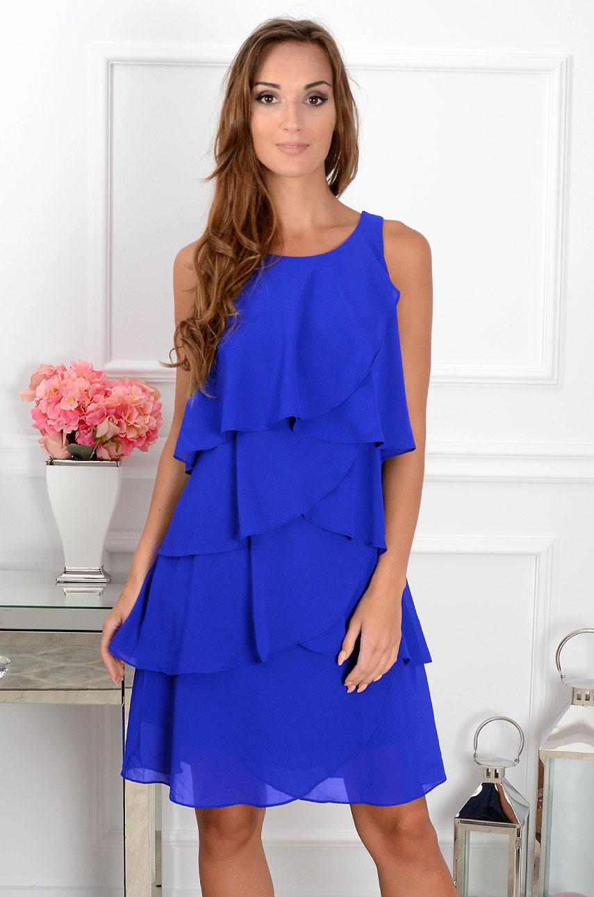 Sukienka z szyfonowych falban kobalt Rozmiar: 2XL