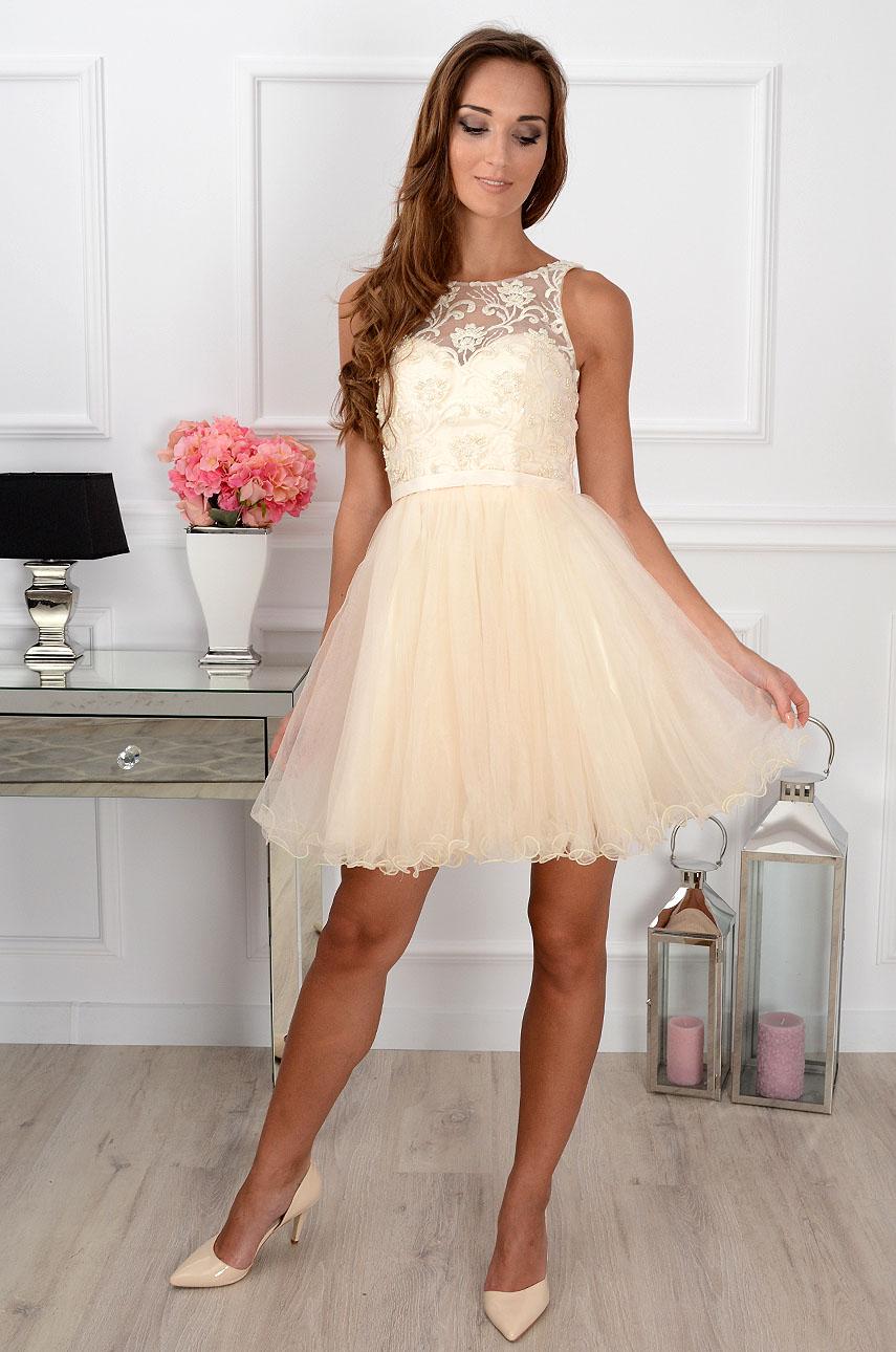 189f102c2e Sukienka z koronki i tiulu kremowa Sklep internetowy cocomoda.pl