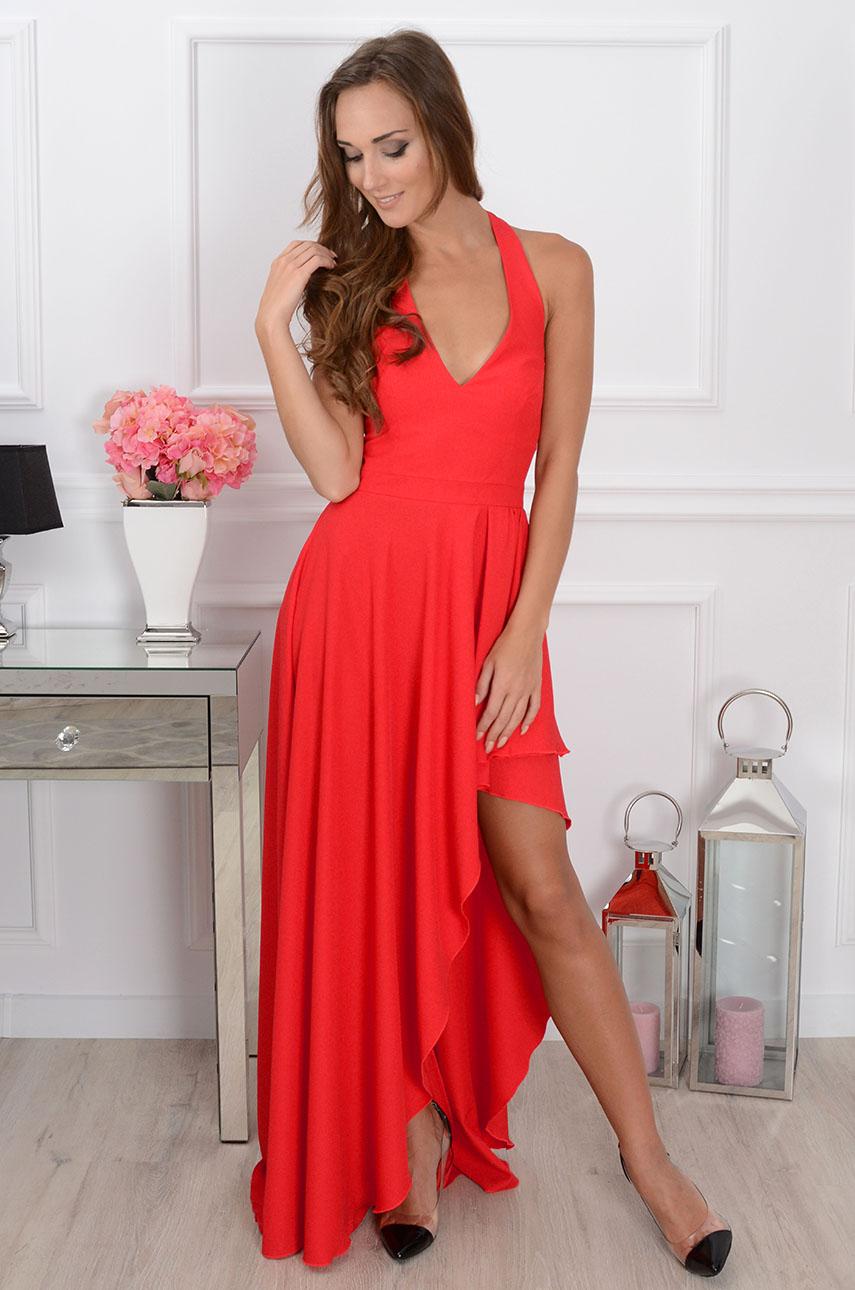 8b6dd144ee Sukienka maxi asymetryczna czerwona Sklep internetowy cocomod...