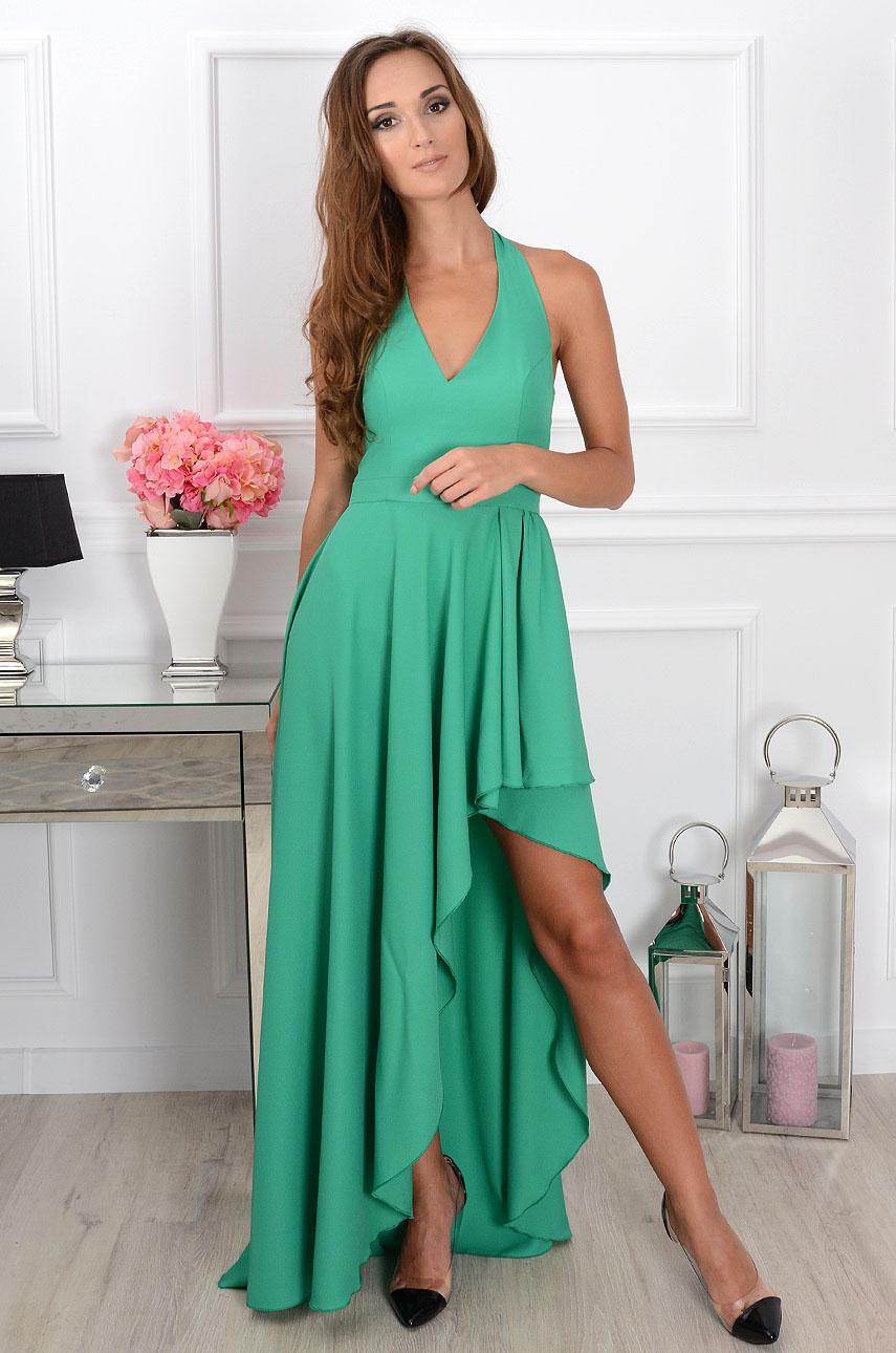 d034e0e60f Sukienka maxi asymetryczna zielona Sklep internetowy cocomoda.pl