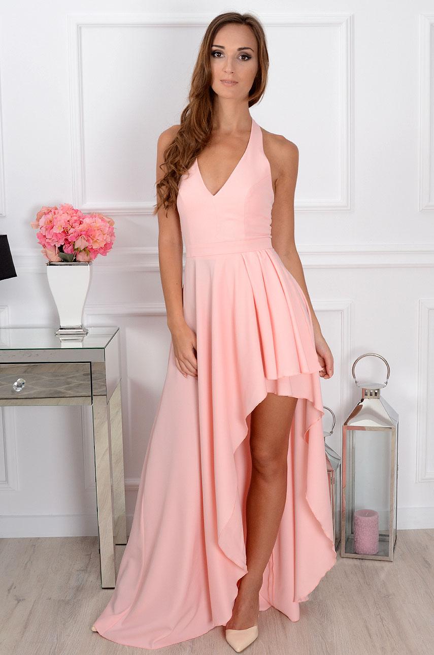 f726536cc0 Sukienka maxi asymetryczna pudrowy róż Sklep internetowy coco...
