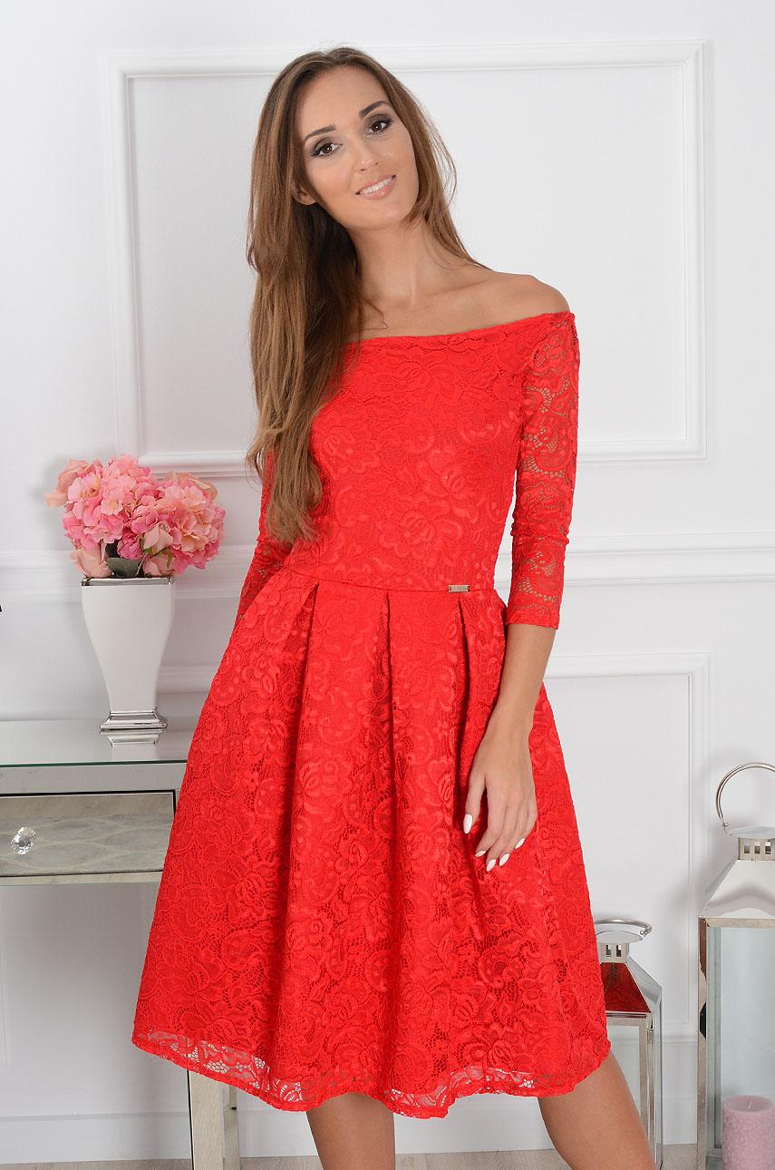 6515d2609f5133 Sukienka koronkowa midi czerwona, Sklep internetowy cocomoda.pl