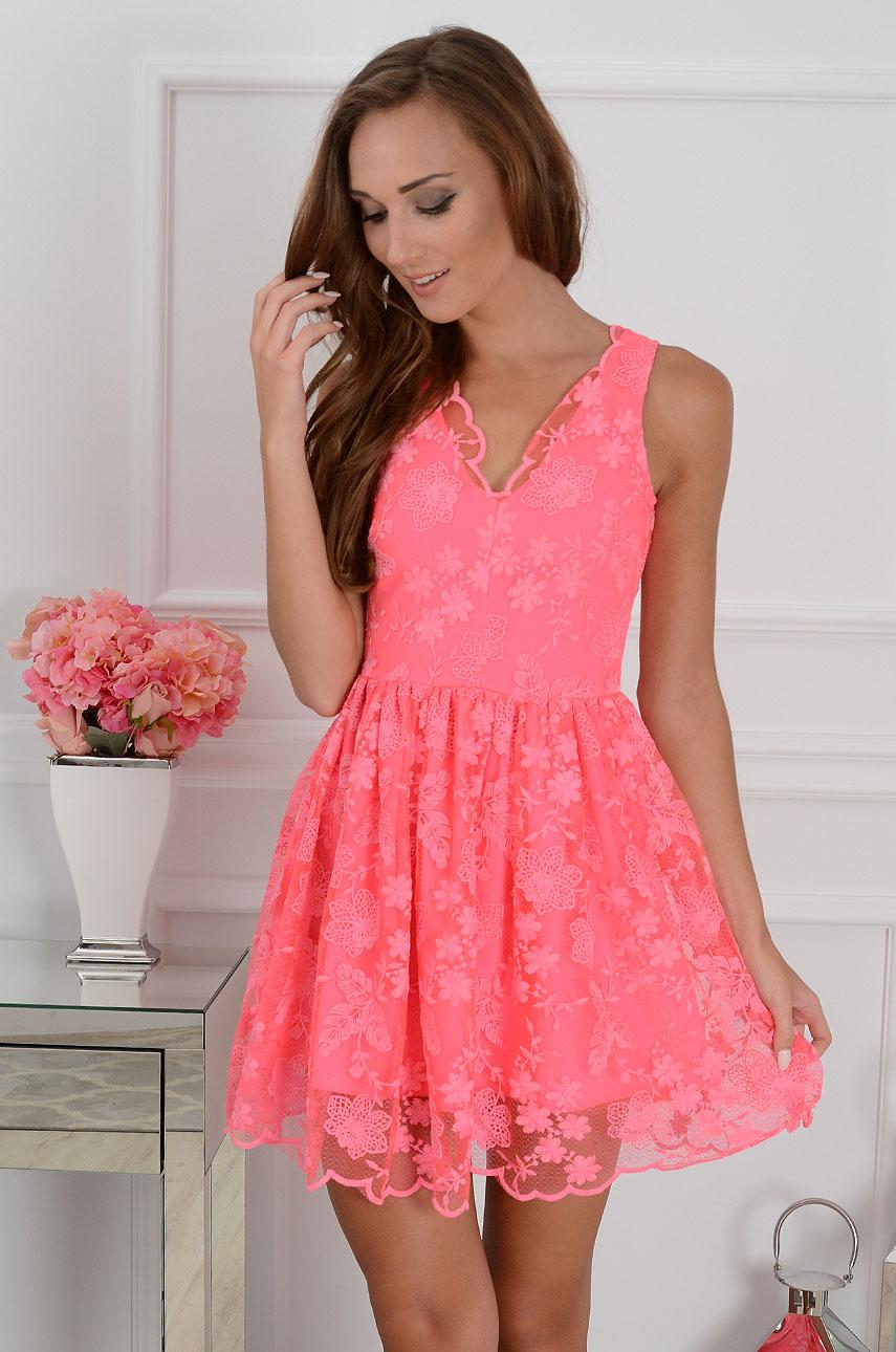 Sukienka koronkowa Delicate Lace neonowy róż Rozmiar: L