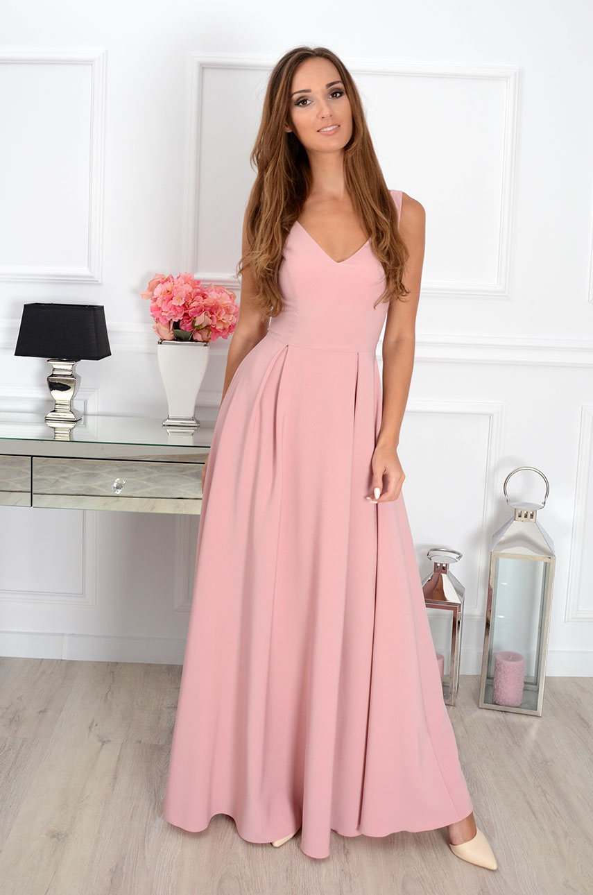 Sukienka maxi Gloria dekolt V brudny róż