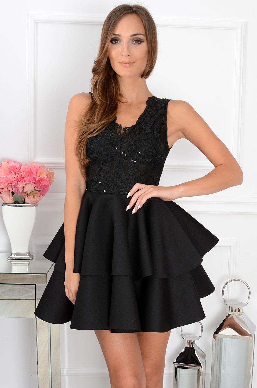 9c9a0879c7 Sukienka z podwójną falbaną czarna Sklep internetowy cocomoda.pl
