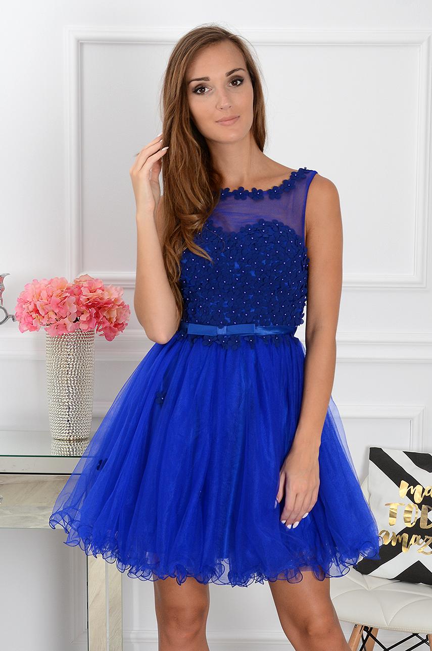 Sukienka Euforia kwiatuszki 3D ciemy chaber Rozmiar: S/M