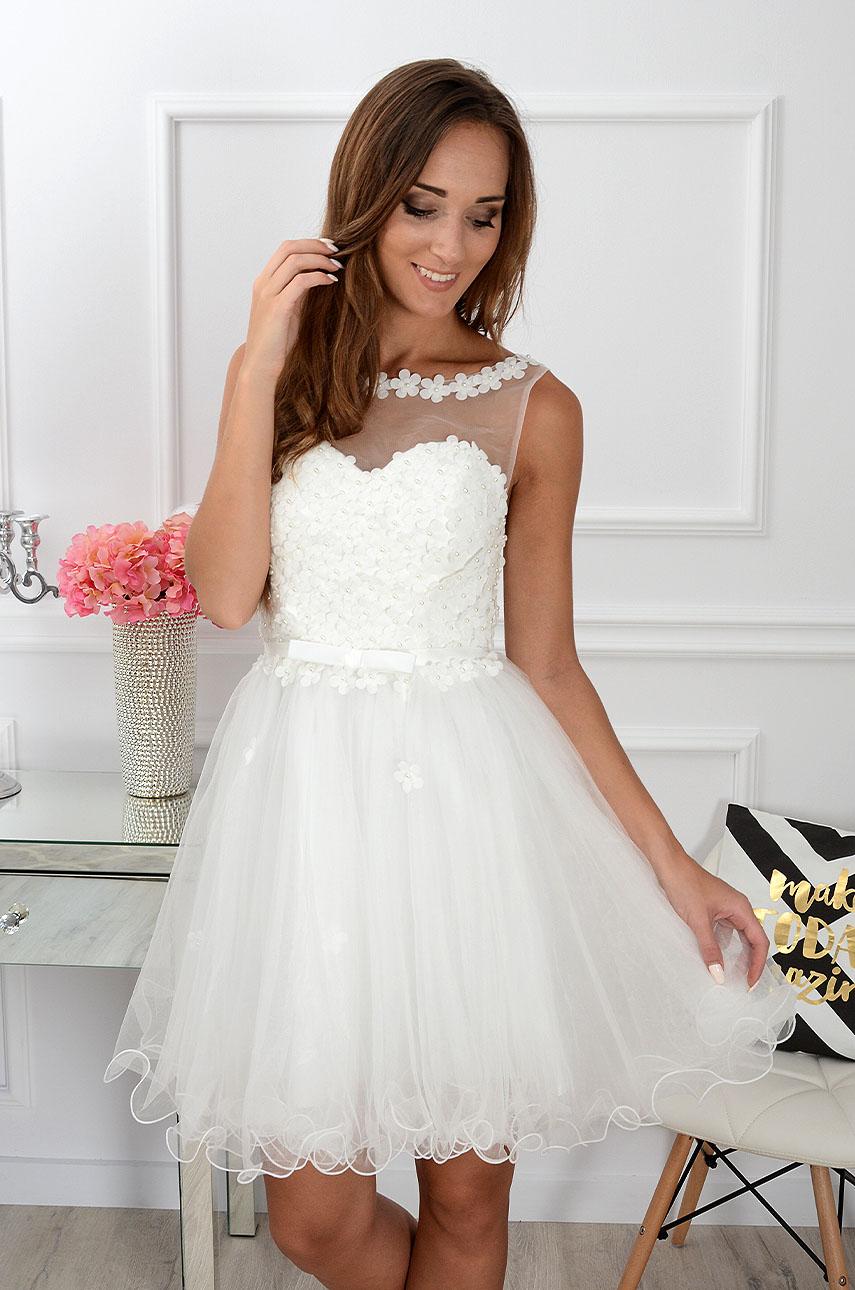 Sukienka Euforia kwiatuszki 3D biała