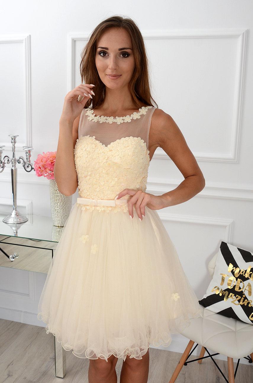 Sukienka Euforia kwiatuszki 3D kremowo-beżowa Rozmiar: M/L