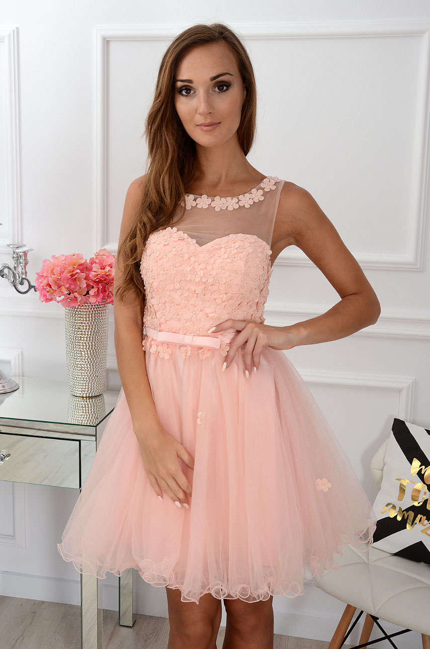 Sukienka Euforia kwiatuszki 3D pudrowy róż Rozmiar: S/M