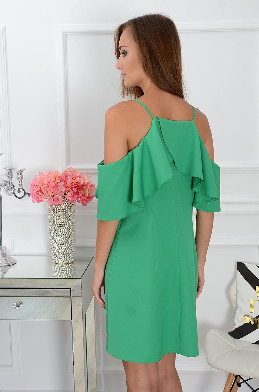 1531b5063f Sukienka trapezowa z falbaną zielona Sklep internetowy cocomo...