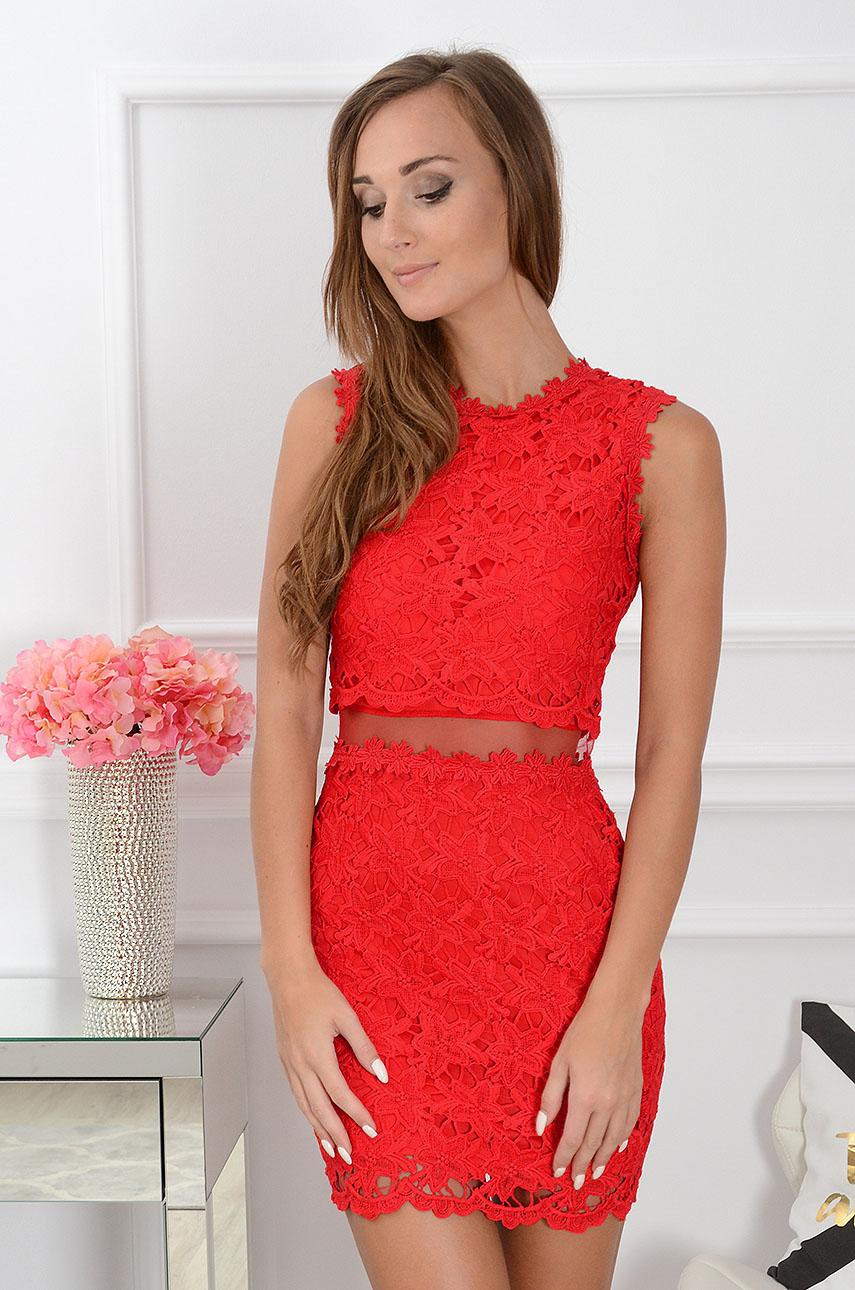 1edeafa378 Sukienka z koronki z siateczką czerwona Sklep internetowy coc...