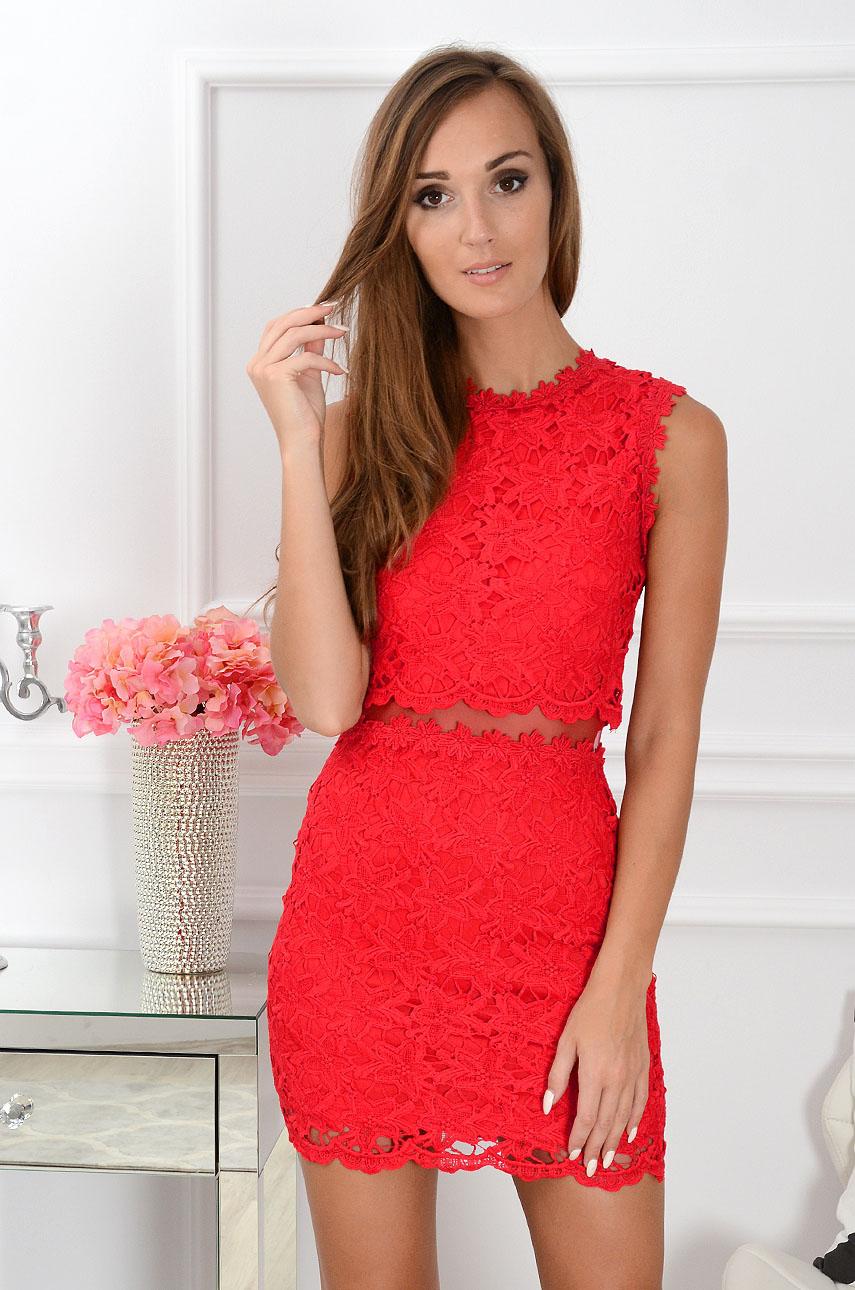 71dcc2633dd5bc Sukienka z koronki z siateczką czerwona Sklep internetowy coc...