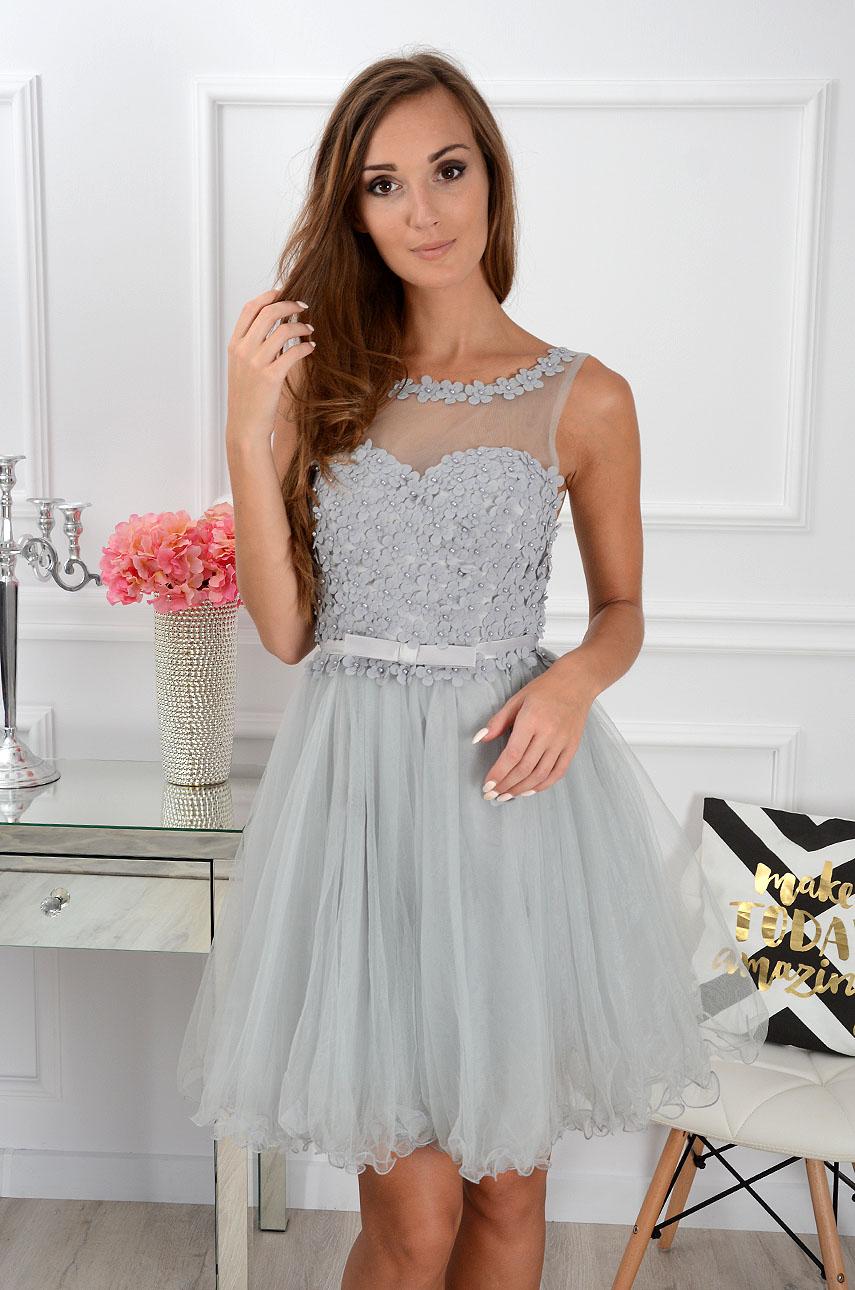 Sukienka Euforia kwiatuszki 3D szara Rozmiar: M/L
