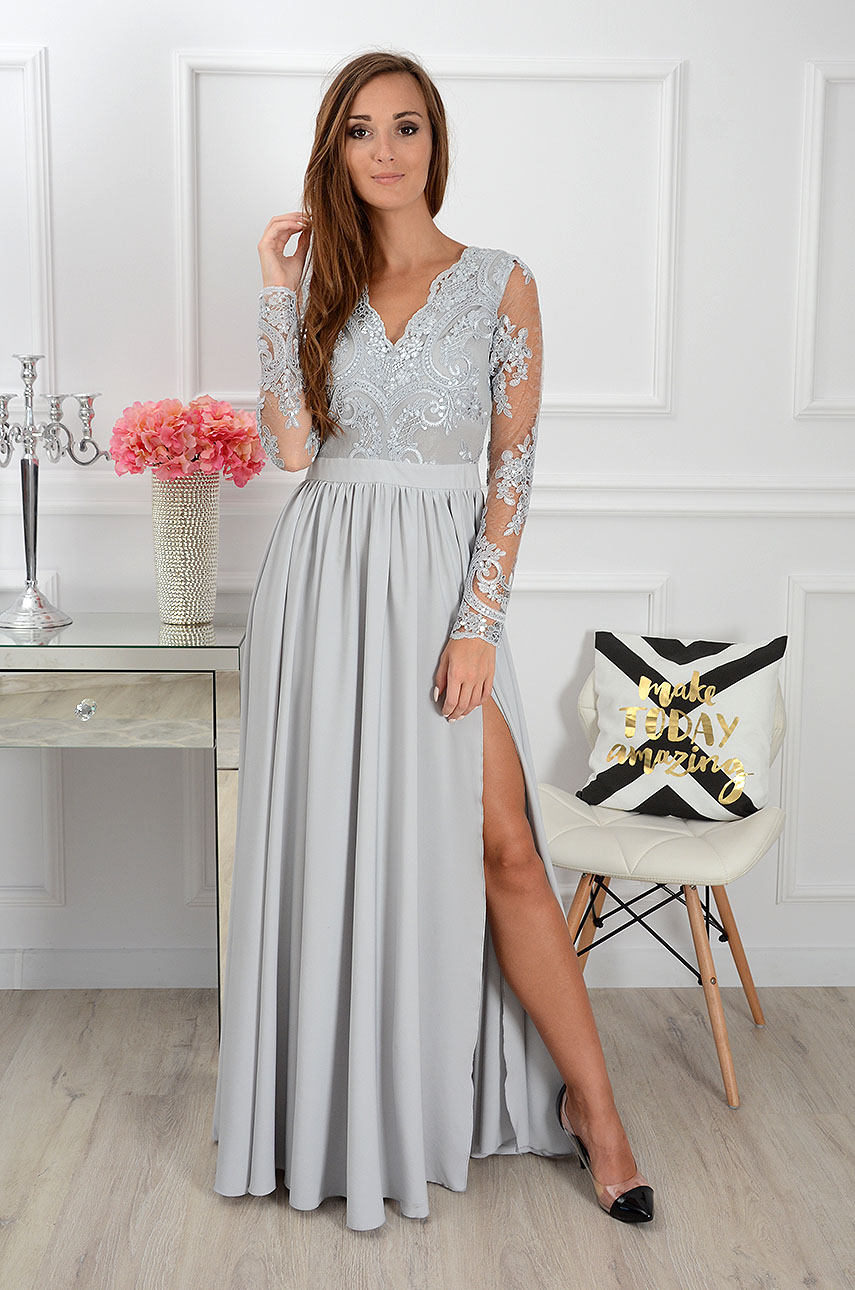 Sukienka maxi Athena długi rękaw szara