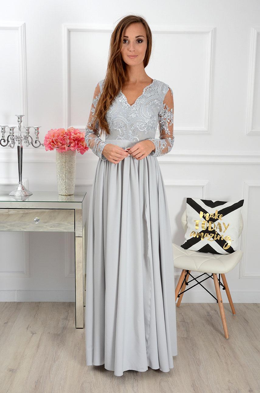 51e865128e Sukienka maxi Athena długi rękaw szara