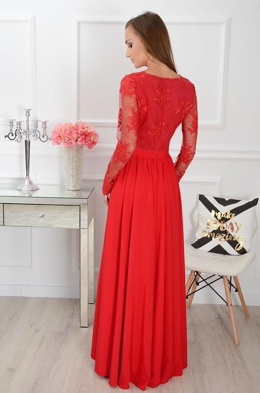 2d9dc91e72 Sukienka maxi Athena długi rękaw czerwona
