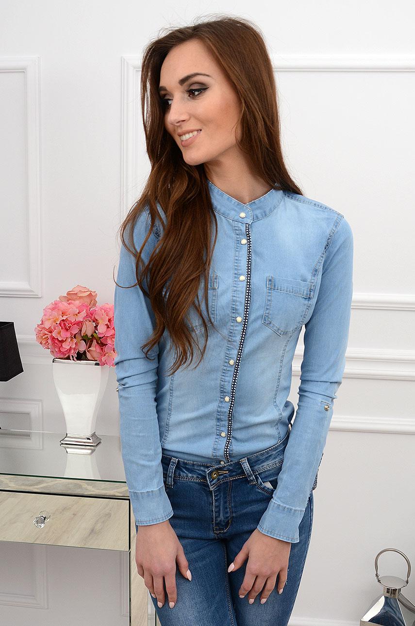 Koszula jeansowa na stójce Dotsy błękitna Sklep cocomoda.pl  6FZZq