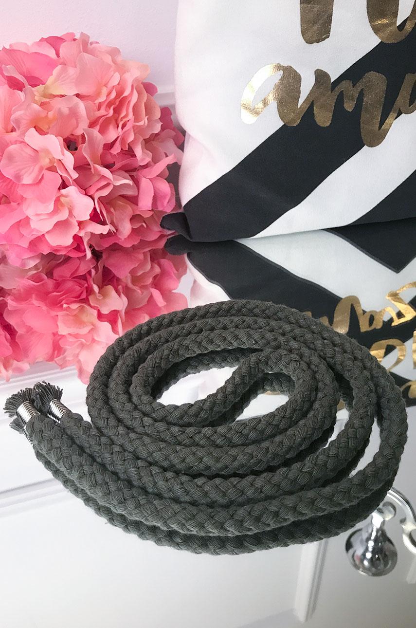 Pasek pleciony sznurek cienki khaki