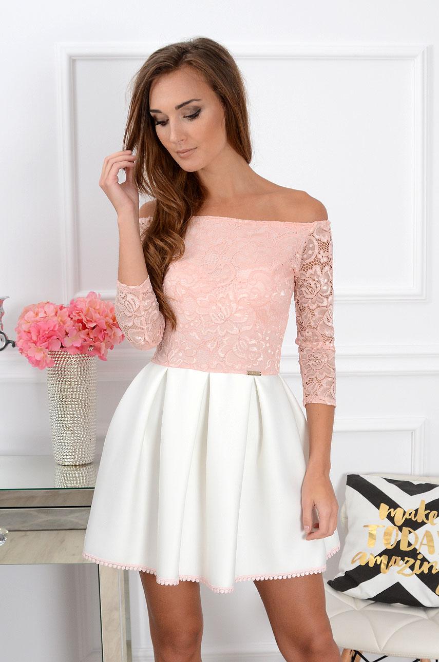18e2f2be24 Sukienka Grace z koronką różowo-biała 3 4 rękaw