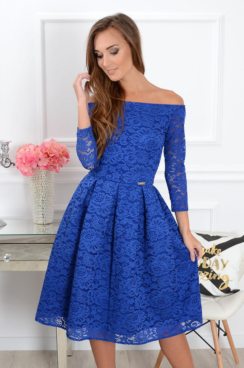 Sukienka koronkowa Scarlet midi kobalt new Rozmiar: XS