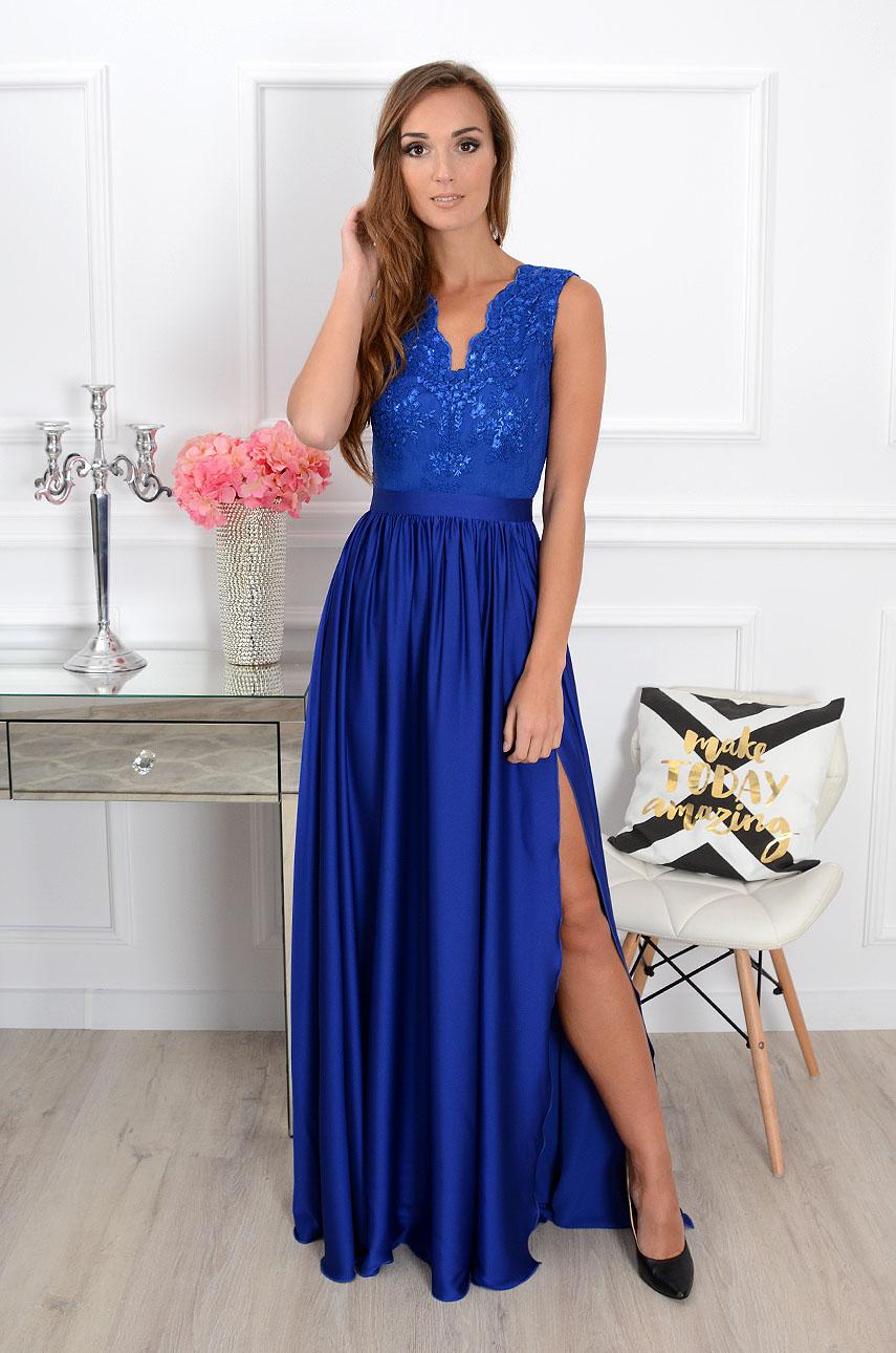 Sukienka maxi Athena z gipiurą kobalt Rozmiar: XS