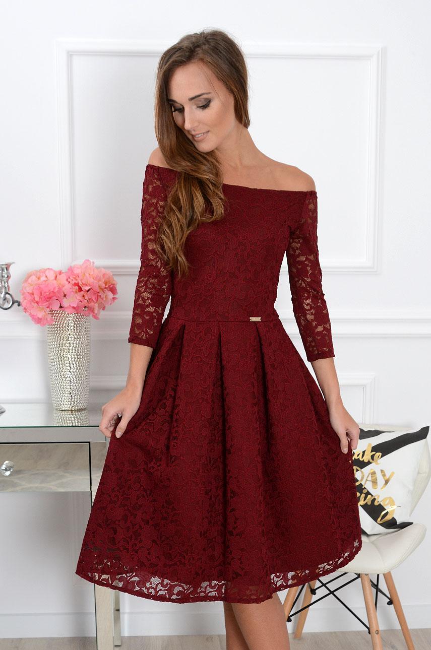 Sukienka koronkowa Scarlet midi burgund new