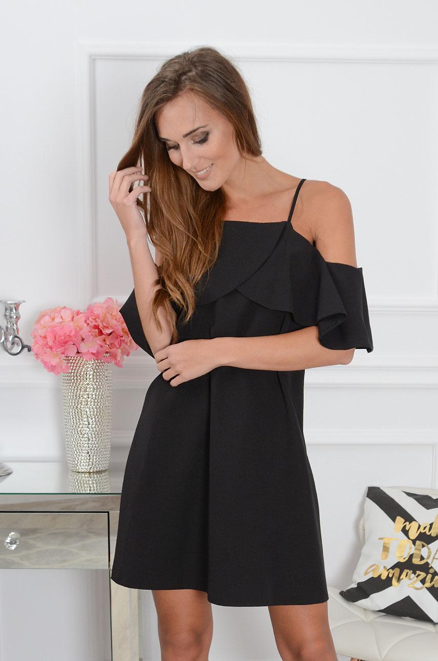 Sukienka Nikola z falbaną czarna Rozmiar: S