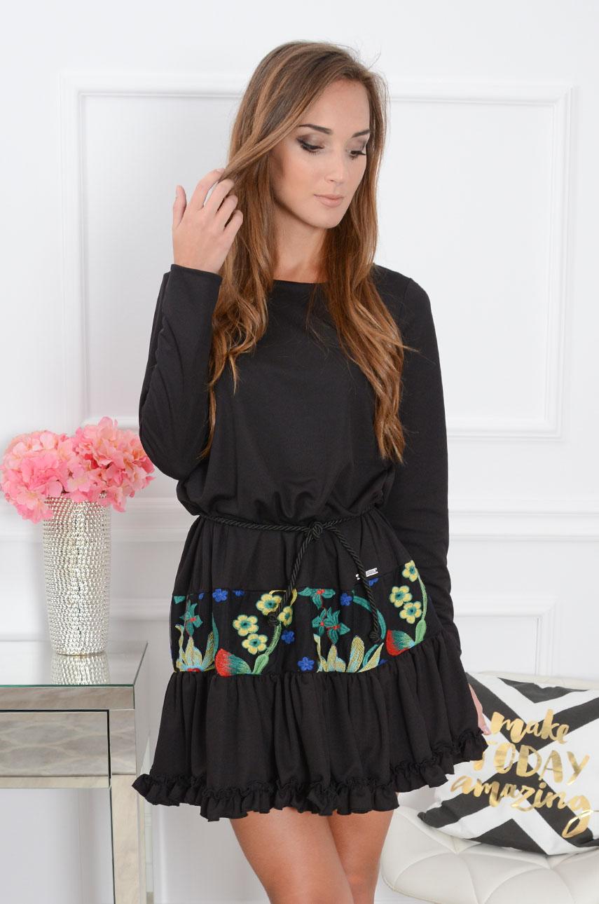 Sukienka boho kolorowe hafty czarna wzór 1 Rozmiar: XS