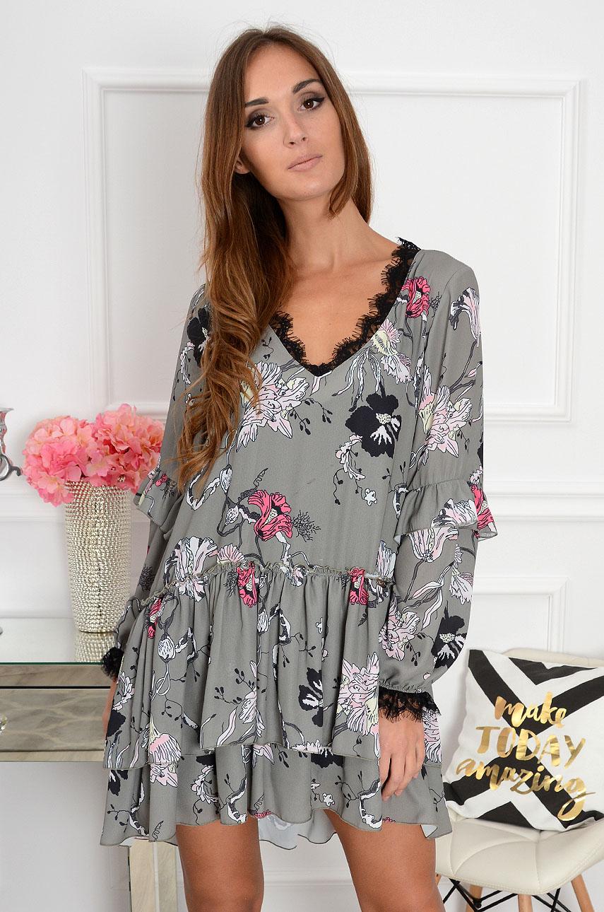 1fb73681b5 Sukienka szyfonowa w duże kwiaty khaki Sklep cocomoda.pl zapr...