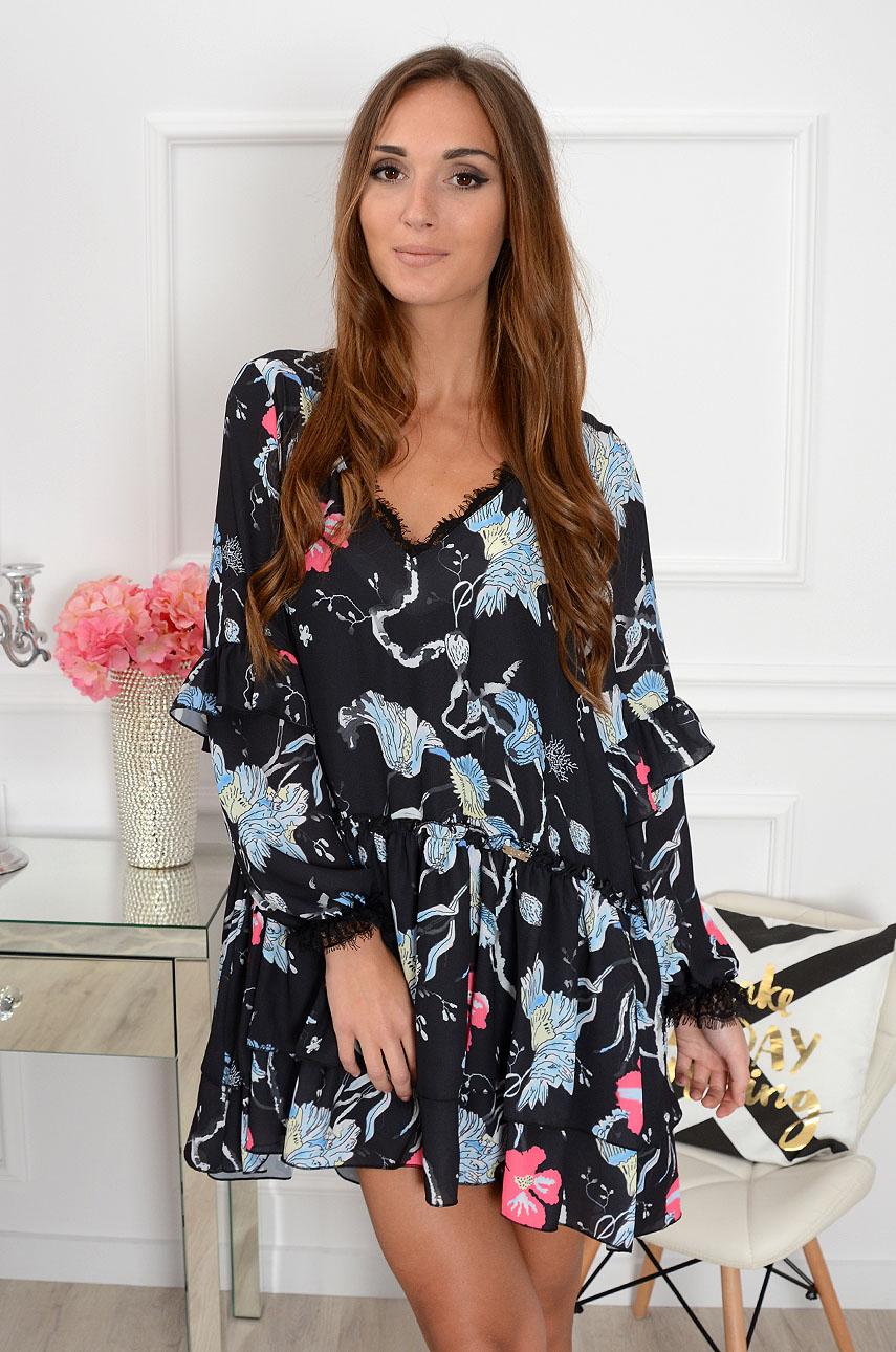 52ea54c360 Sukienka szyfonowa w duże kwiaty czarna Sklep cocomoda.pl zap...