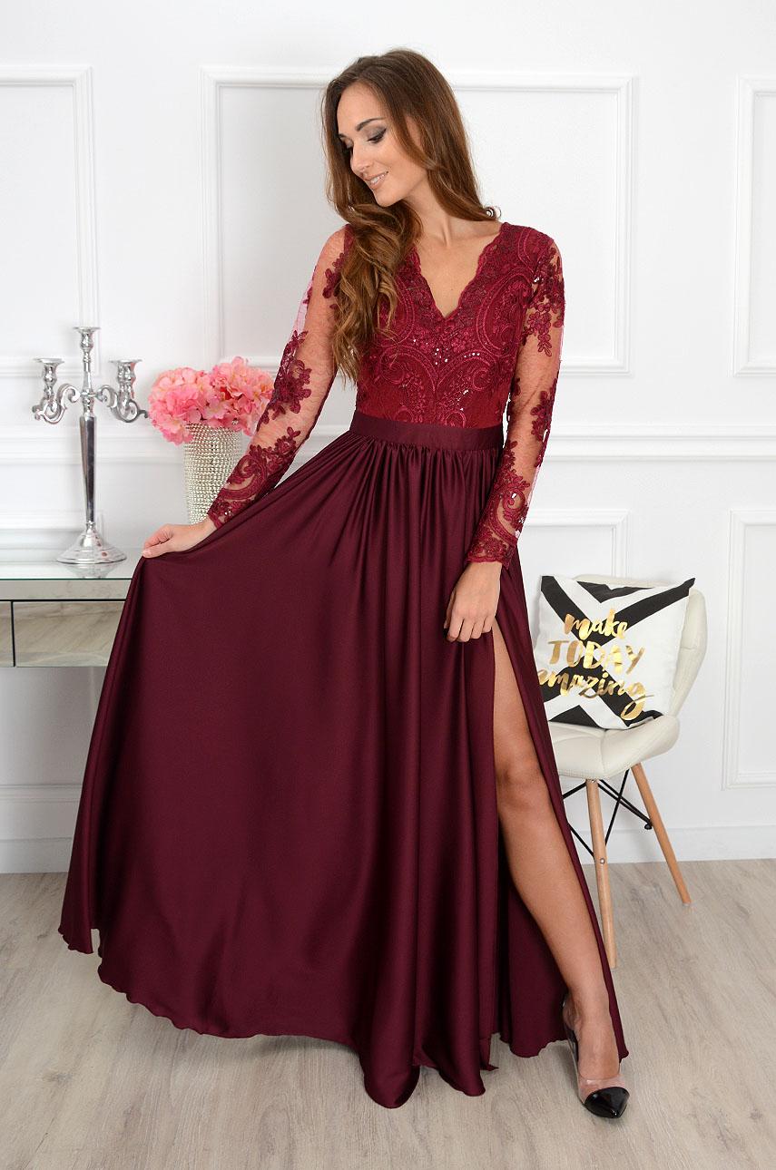 74944fbc99 Sukienka maxi Athena długi rękaw burgund