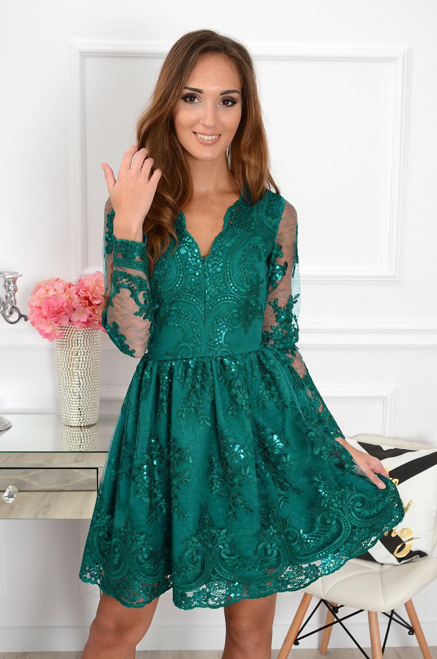 14c5611d3f06 Sukienka z koronki Verona ciemna zieleń