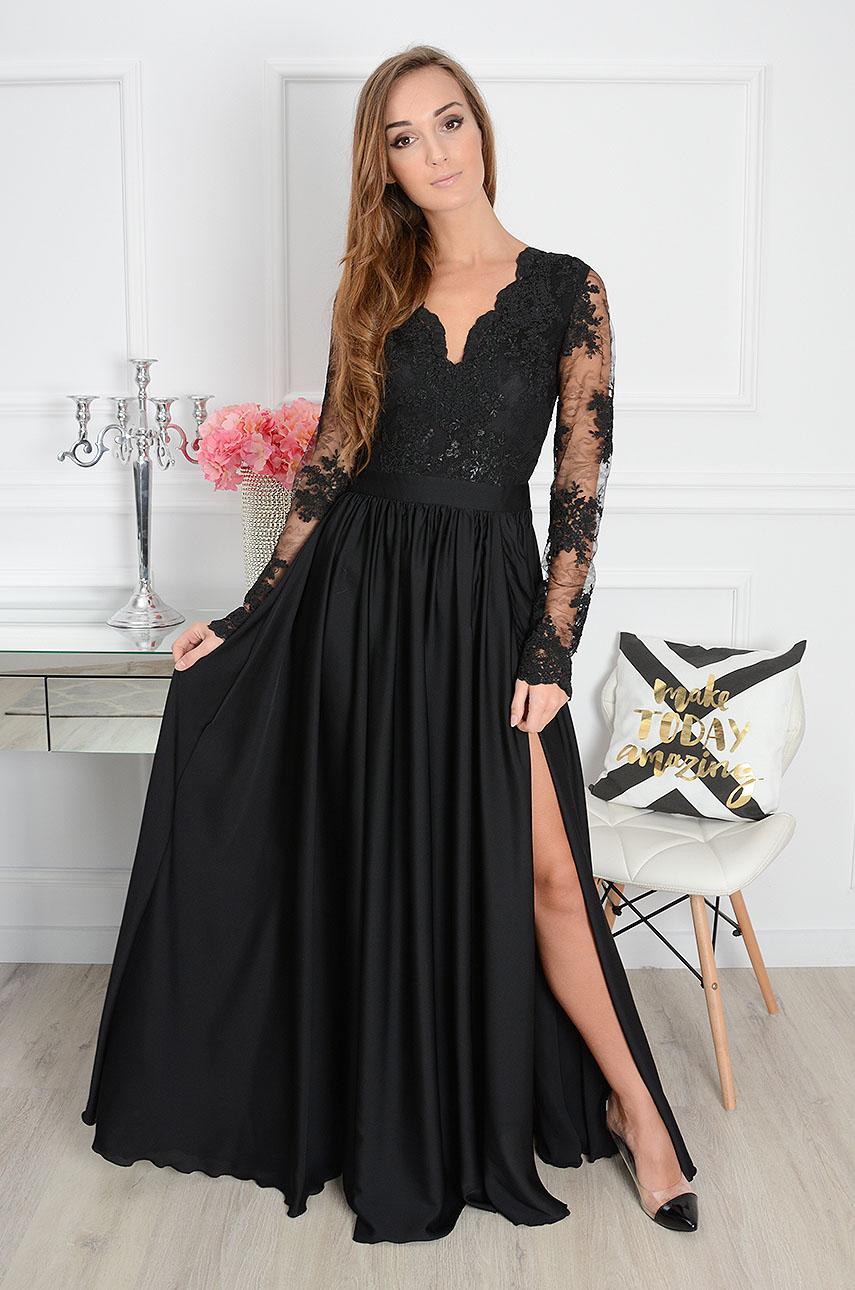 4859b54b35 Sukienka maxi Athena długi rękaw czarna