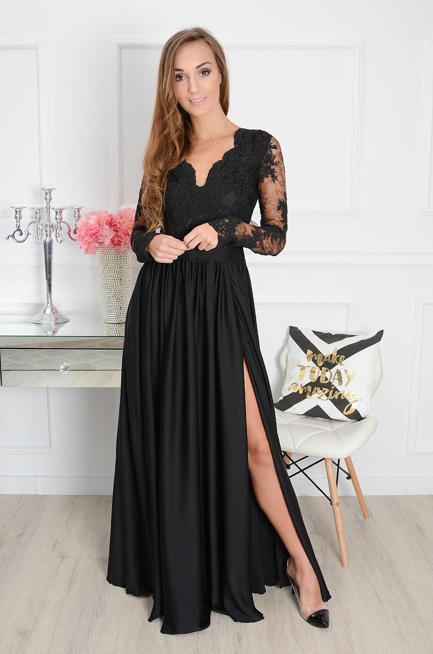 e2156b3e5d Sukienka maxi Athena długi rękaw czarna