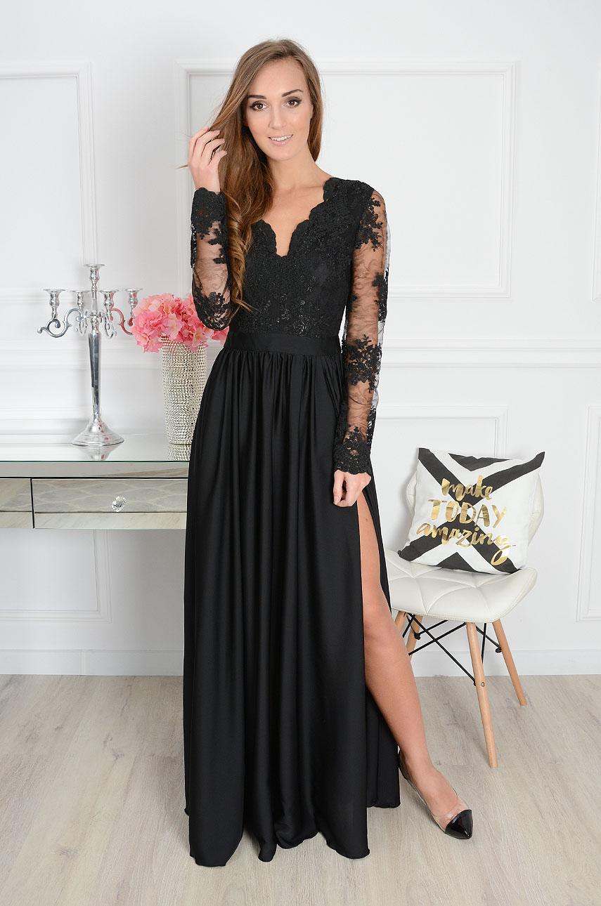 Sukienka maxi Athena długi rękaw czarna