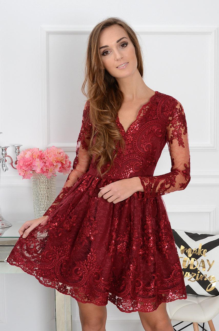 Sukienka z koronki Verona burgund Rozmiar: XS