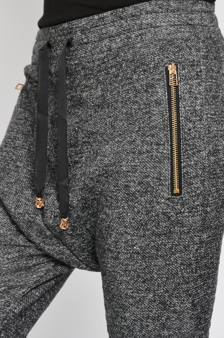 Spodnie melanż z obniżonym krokiem 2 suwaki