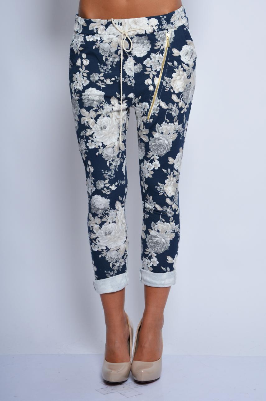 Spodnie dresowe baggy w kwiaty z suwakiem