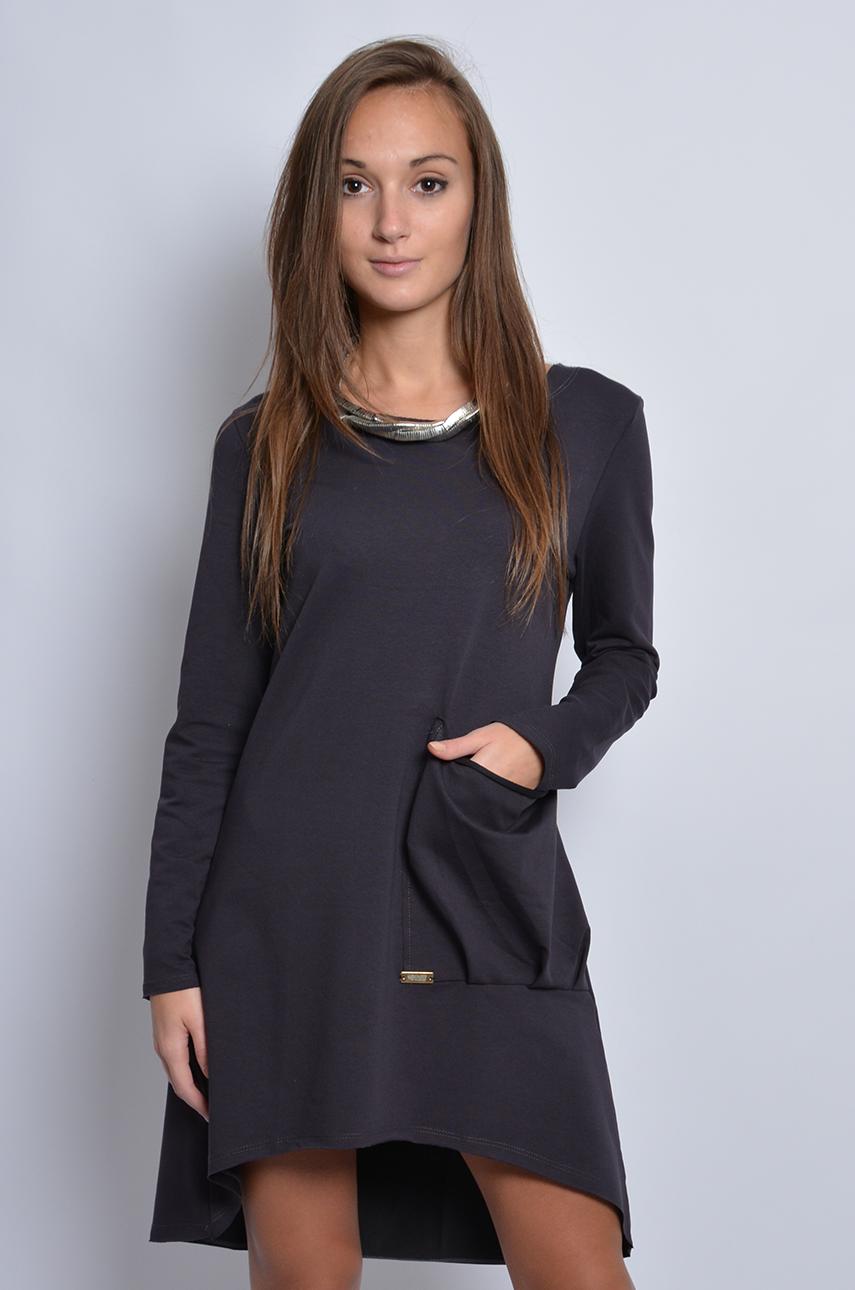f7101832b22f0 Sukienka dresowa z dużą kieszenią grafitowa - Cocomoda.pl - o...
