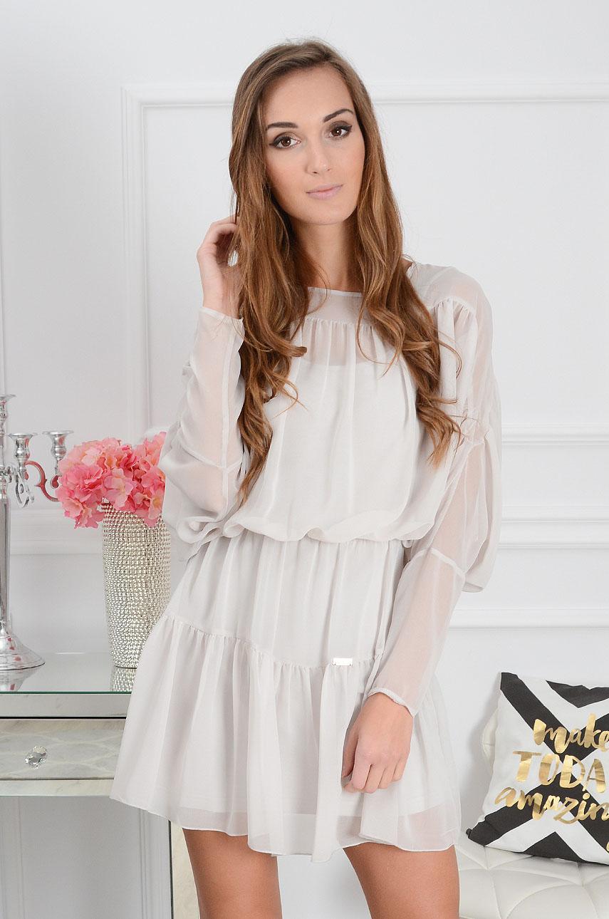 aff2dcc56e Sukienka szyfonowa z falbanami szara Sklep internetowy cocomo...