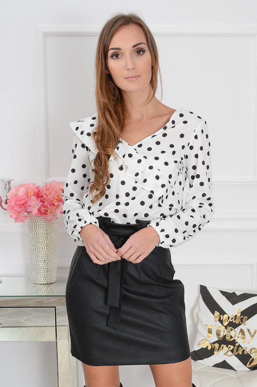 060280be74 Bluzka Nell z falbanką biała w czarne grochy - Cocomoda.pl - ...