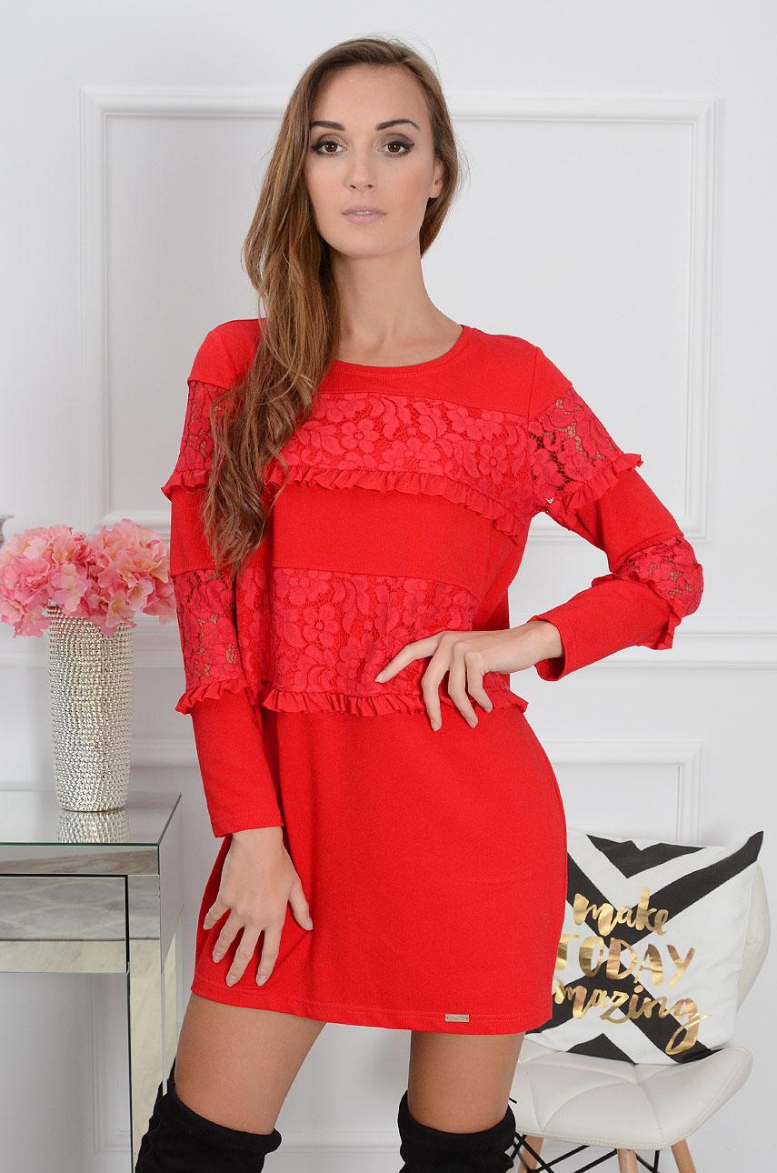 866038ac1c1b1f Sukienka z wstawkami z koronki czerwona Sklep cocomoda.pl zap...