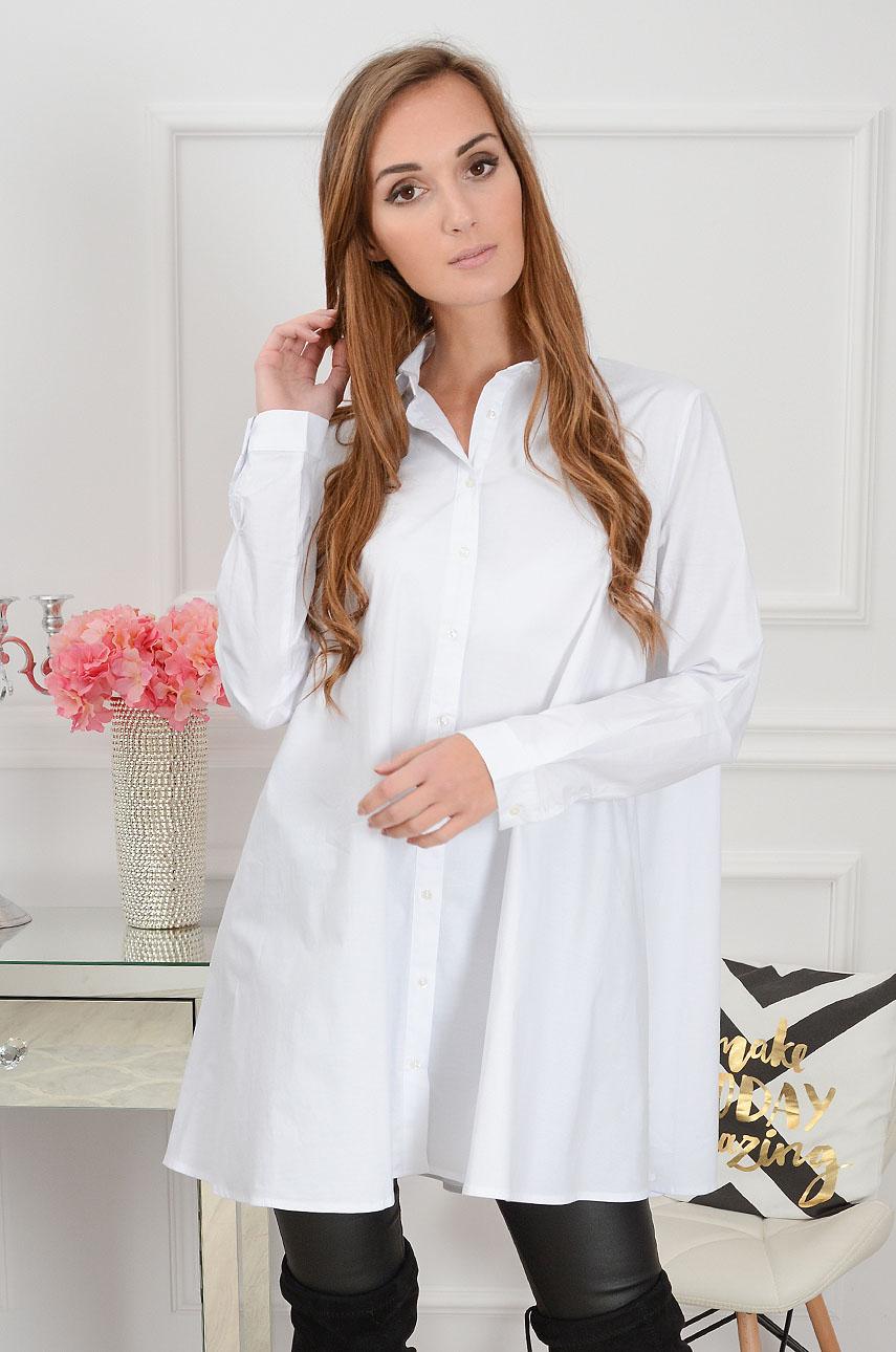 Długa koszula rozkloszowana biała Cocomoda.pl odzież dams  tIKS1