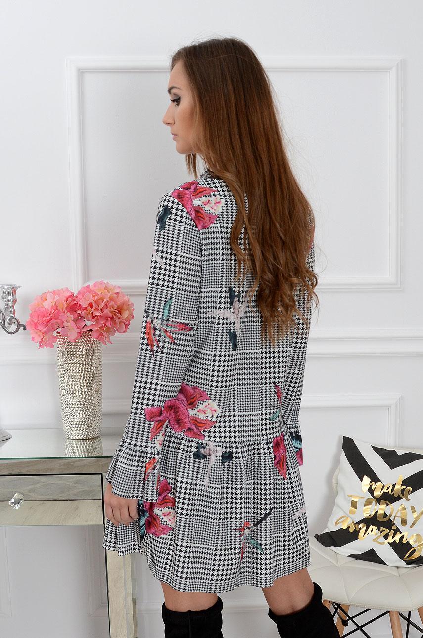 Sukienka Hana z falbaną w kratkę i kwiaty
