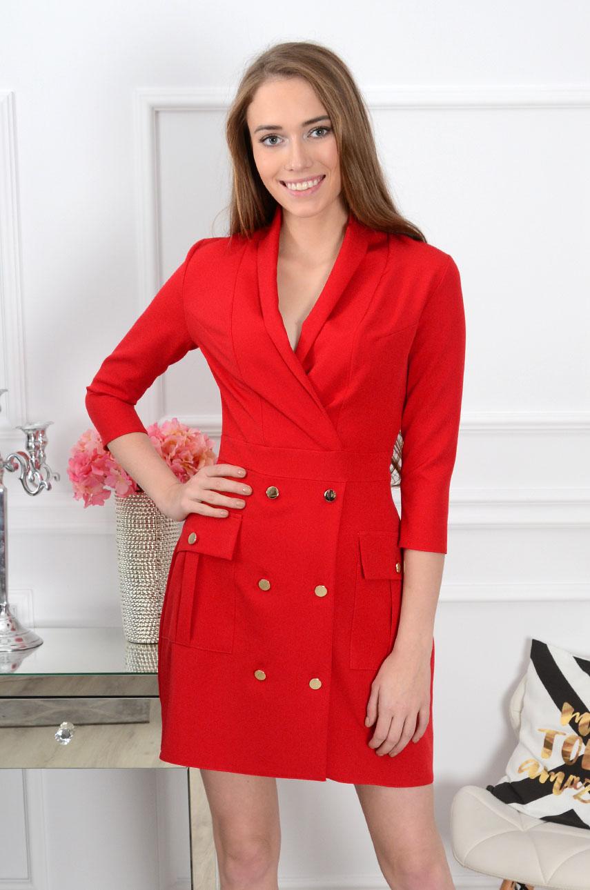 Sukienka dwurzędowa Gerda czerwona Rozmiar: S